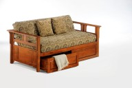 Teddy R Daybed Cherry w Drawers opened