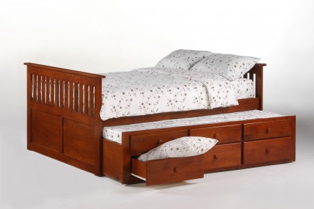 Ginger Captains Bed Full Cherry w Trundles opened