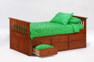 Ginger Captains Bed Twin Cherry w Trundles Drawer opened