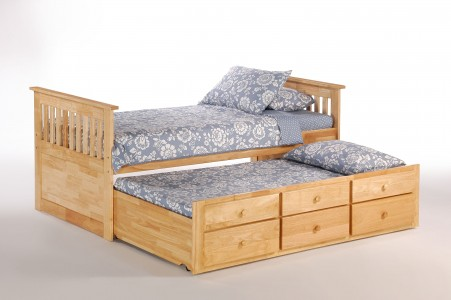 ginger captains bed twin natural w trundle open