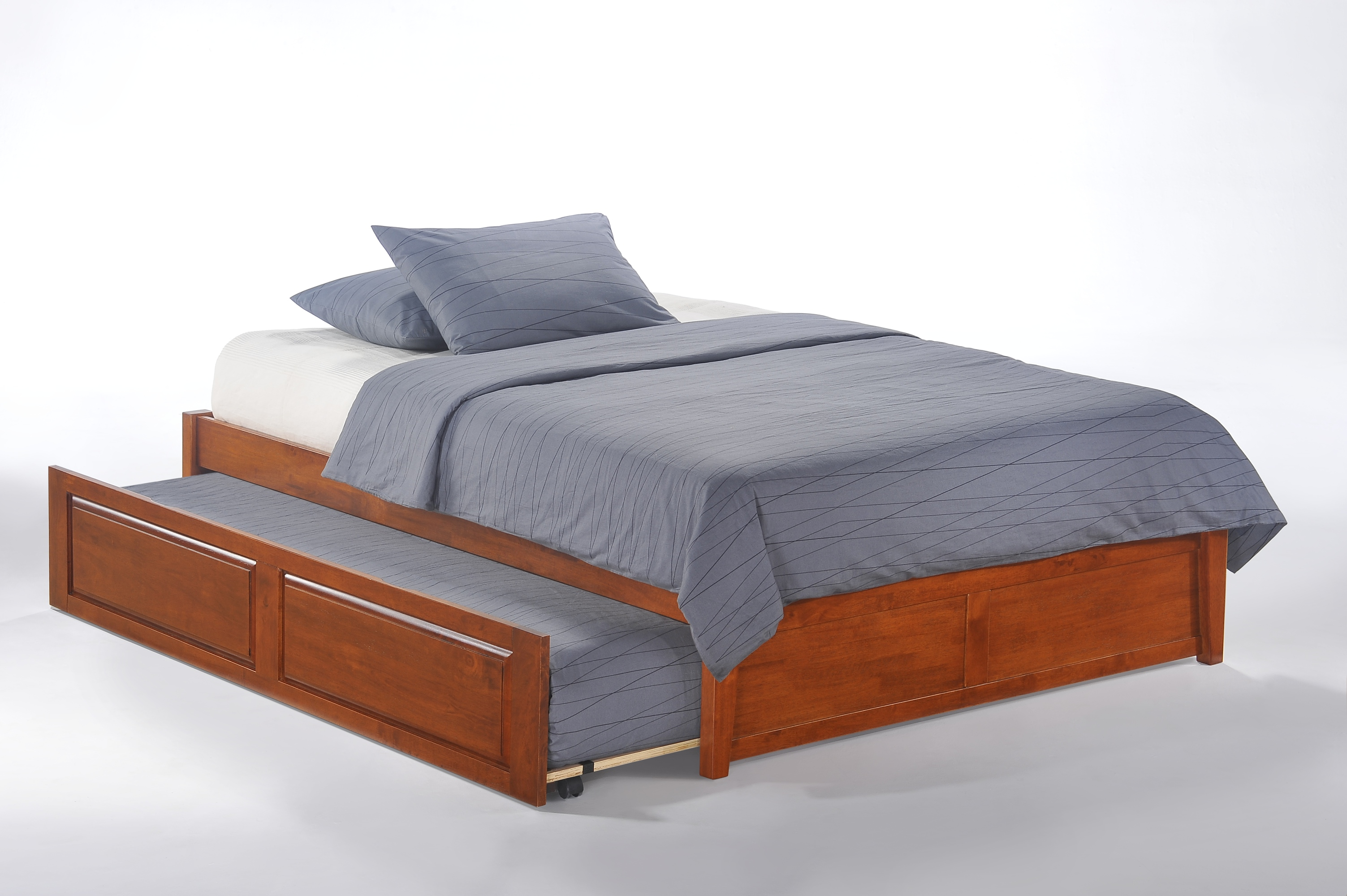 k series basic bed full cherry w cinnamon trundle bed opened - Basic Bed Frame