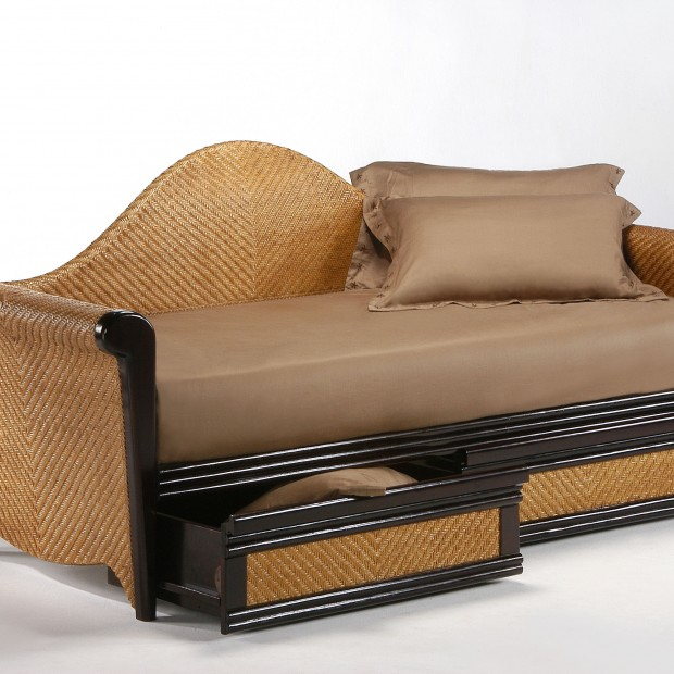Rosebud Daybed Dark Chocolate w Drawer opened