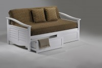 Seagull Daybed w Cinnamon Storage Drawer opened (WH)