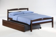 Sesame Bed Full Dark Chocolate w Trundle opened
