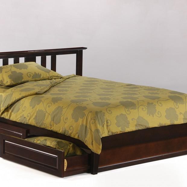 Thyme Bed Full Dark Chocolate w Drawers opened