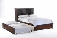 Vanilla Bed Full Dark Chocolate w Trundle opened